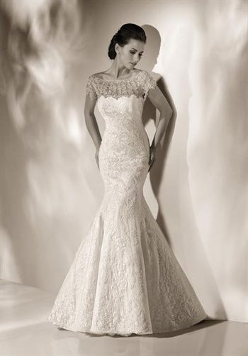 Alencon Lace, fit and flare gown is elegant with classic silhouette crowned with seductive hand beaded boad neckline