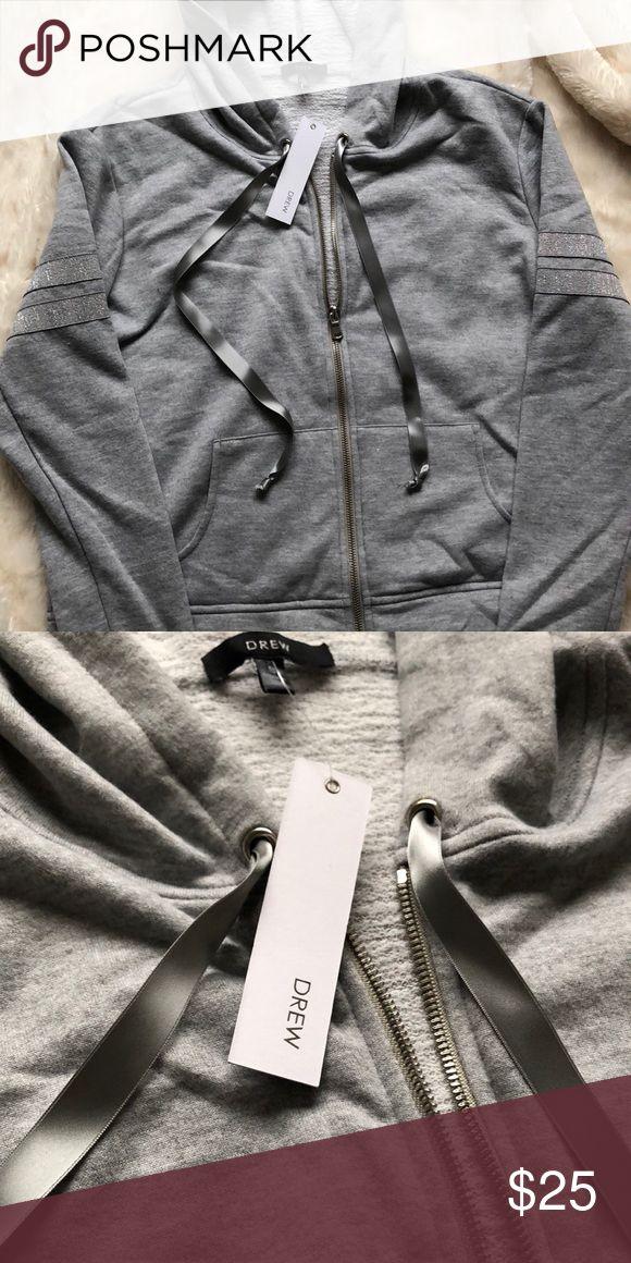 NWT DREw Grey zip up hoodie Super soft silver and gray hoodie DREW Tops Sweatshirts & Hoodies