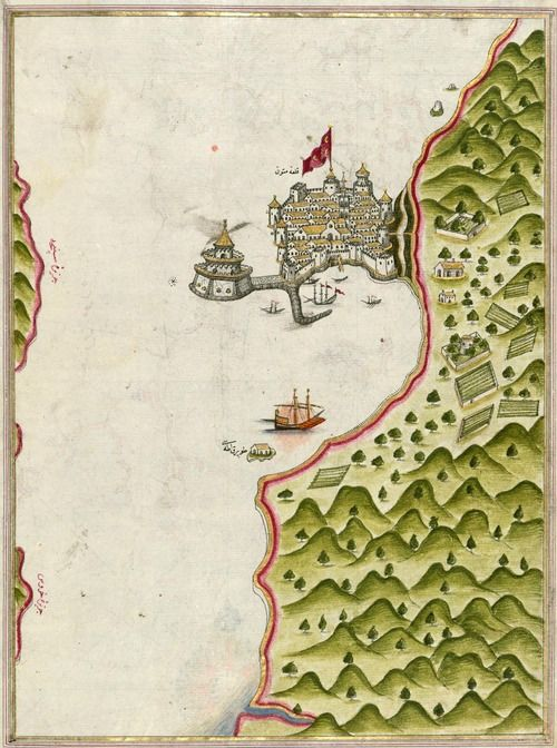 An illuminated map of Methana fortress in the Saronikos Bay, from the great Kitab-ı Bahriye (Book of Navigation) presented to Sultan Süleyman by Piri Reis, 1525