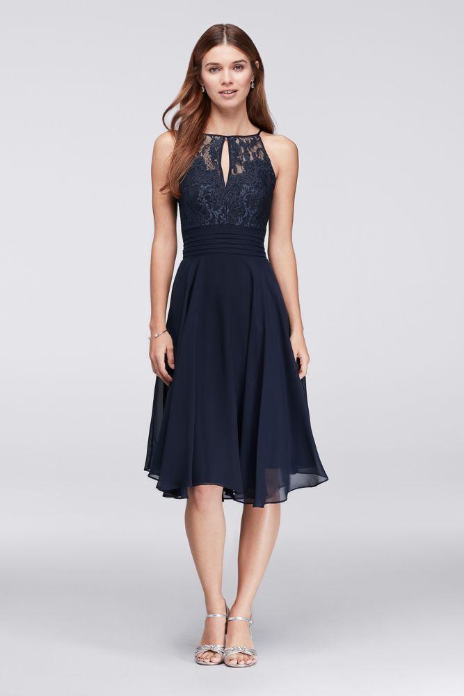 Lace Appliqued Illusion Short Bridesmaid Dress - Navy (Blue), 2