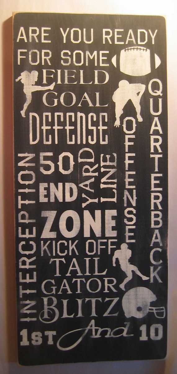 Football, Typography, Subway Art, Man Cave, Sports, Distressed,