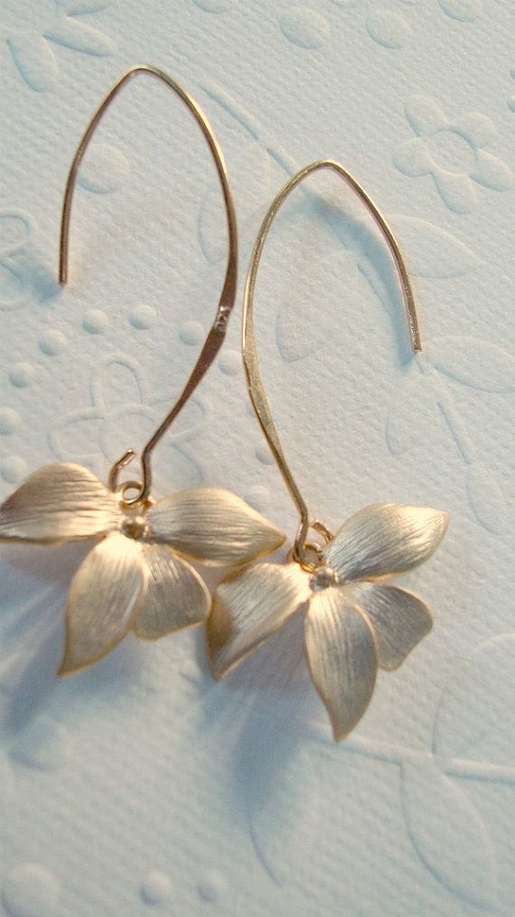 dangle earrings Office fashion Gold orchid flower on 14 kt Vermeil gold marquise…