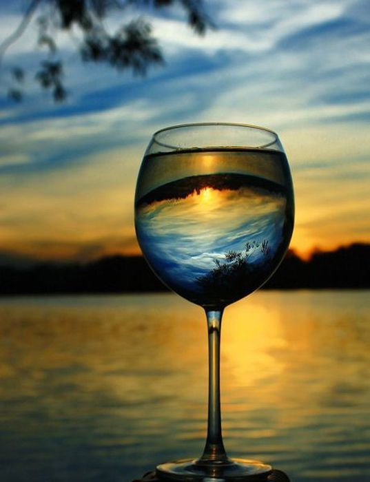 SunsetsPhotos, Water, Optical Illusions, Sunsets, Beautiful Sunset, Beach, Wine Glasses, Drinks, Photography
