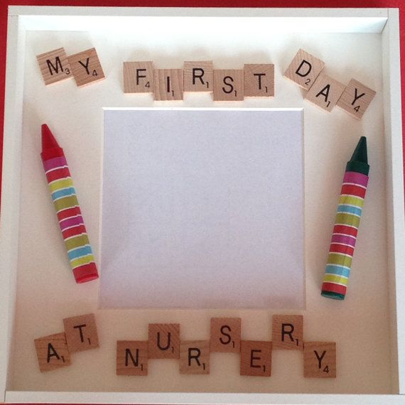 Scrabble Photo Frame My First Day At School, Nursery, Pre School etc, Scrabble Frame, Scrabble Art, Personalised