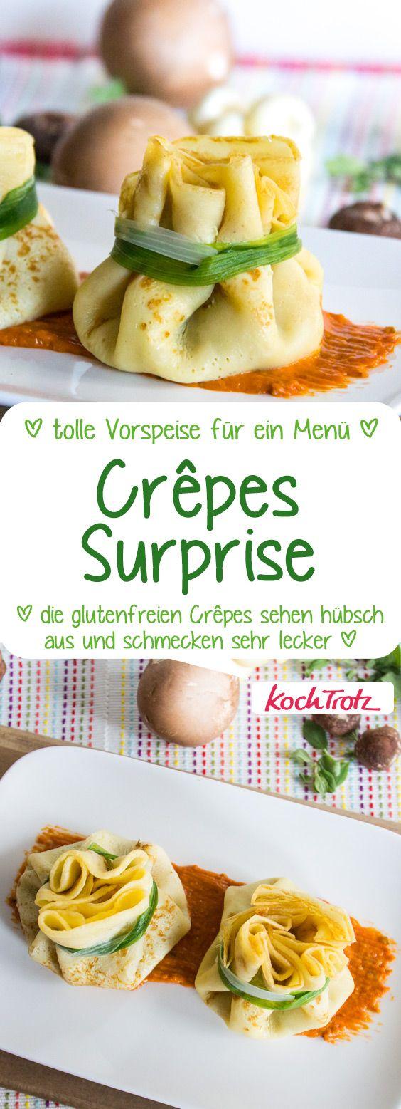 Crêpes Surprise   herzhaft gefüllte Crêpes als Vorspeise für ein Menü #crepes #glutenfrei #laktosefrei #vorspeise #menü