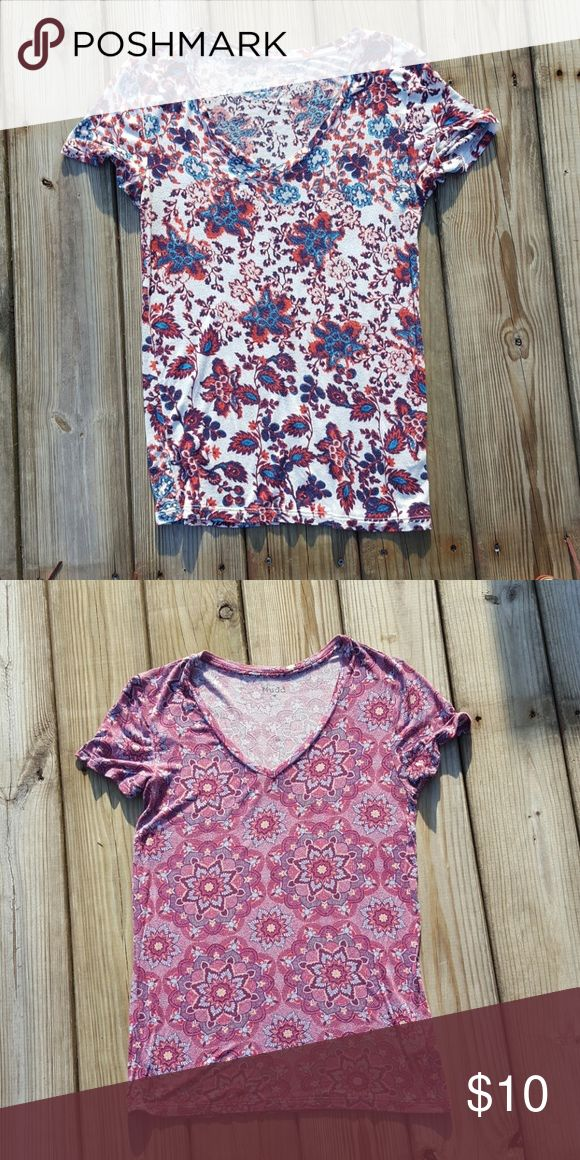 2 V Neck Tees! 2 V neck fitted tees in a premade bundle! Mudd brand. Size medium! Both are in good used condition! Great deal for two shirts! Feel free to make an offer!!! Mudd Tops Tees - Short Sleeve