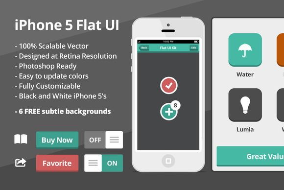 This is an entirely vector, 100% scalable iOS Flat UI Kit. It has been designed with ease of use in mind. It offers a comprehensive set of iOS UI elements that can be assembled, mixed and matched to fit all your iOS needs. These have been designed in such a way that by changing the shape fill color in a single place will affect an entire elements colors. It is extremely easy to use.