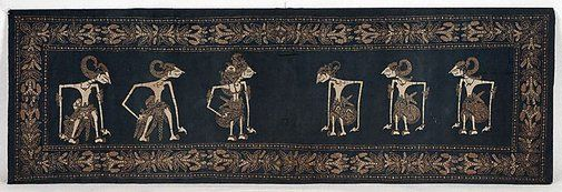 "Indonesian Batik | Silk | Dated 1900 A.D. | Features a ""wayang"" design 