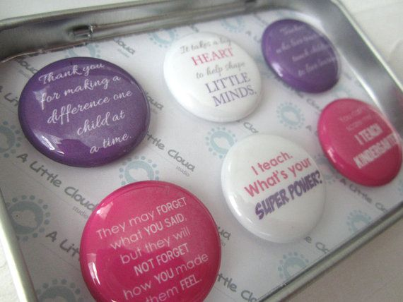 """Custom Magnet Teacher Gift Set in Pink and Purple.  Quotes include: """"It takes a big heart to help shape little minds."""" """"I teach. What's your super power?"""" """"They may forget what you said, but they will not forget how you made them feel"""" """"Thank you for making a difference one child at a time."""" """"Teachers who love teaching, teach children to love learning."""" """"You can't scare me. I teach [grade]""""  Quotes AND colours can be customized."""