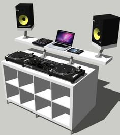 DJ desk constructed by Ikea parts, bosh!                                                                                                                                                      More