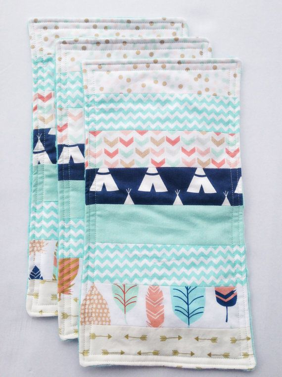 These burp cloths are the perfect addition to your diaper bag! | Burp Cloths, Set of 3, Adventure Nursery, Baby Toddler Quilt, Minky Teepee Aztec Feathers Indian Tribal Arrows Rustic Explorer Travel, Teal Blue Aqua Coral Peach Gold Mint Navy Theme, Crib Diaper Bag | by Missy Prissy Shop, $22.00 + FREE SHIPPING!