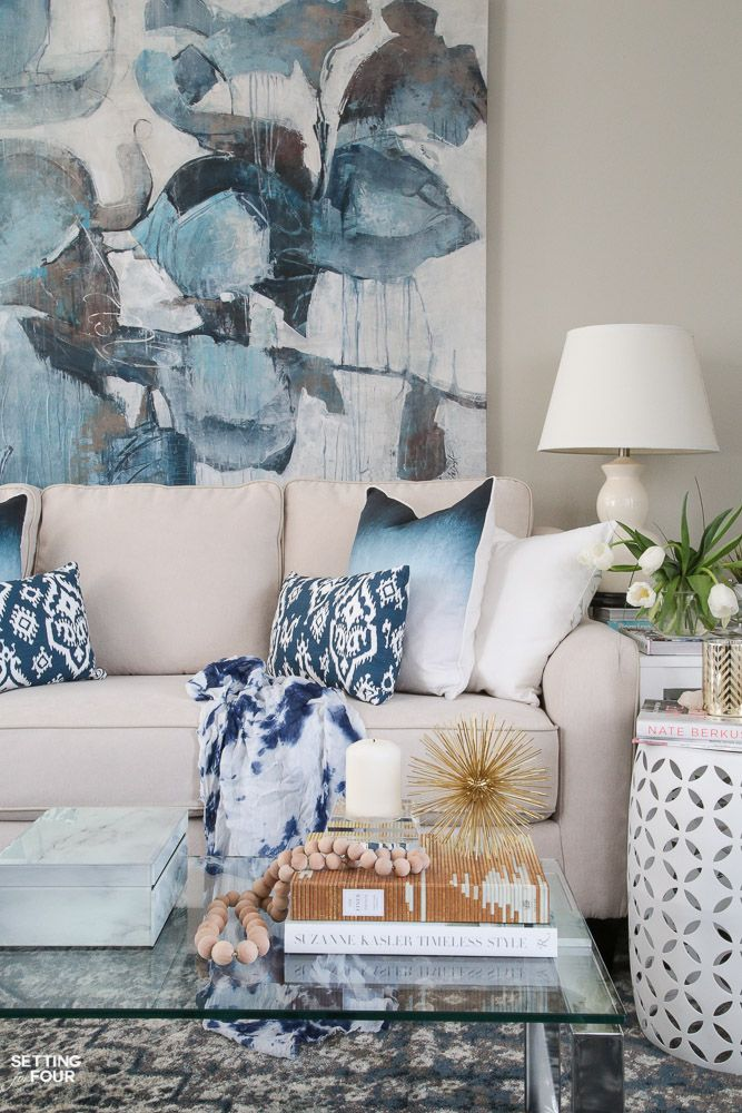 Spring Home Tour! See this beautiful living room decorated for spring. Get the look - see the shopping sources and design ideas.