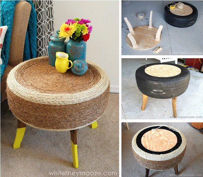 Crea una bella mesita a partir de una vieja llanta, cuerda y sobrantes de madera. Tutorial completo: http://www.eastcoastcreativeblog.com/2013/03/trendy-tire-table-while-they-snooze.html