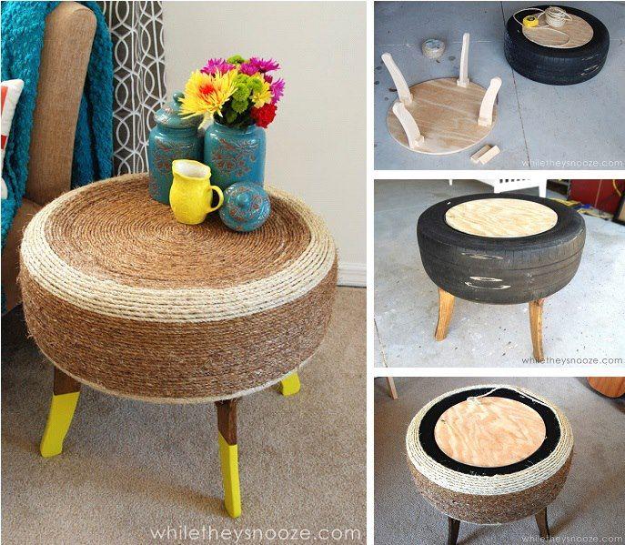 Crea una bella mesita a partir de una vieja llanta, cuerda y sobrantes de madera. Tutorial completo: http://www.eastcoastcreativeblog.com/2013/03/trendy-tire-table-while-they-snooze.html
