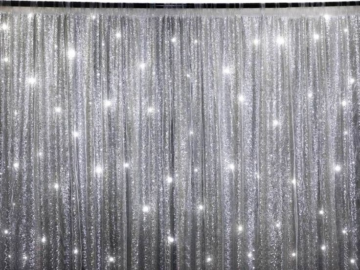Silver sequins backdrop 20 x 10 ft stage party wedding for Background curtain decoration