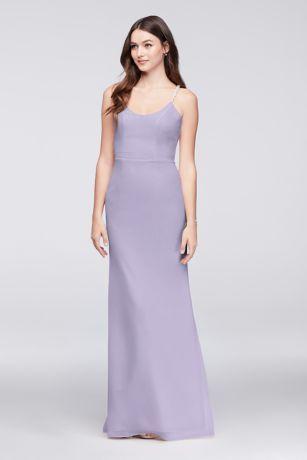 $180 (Sale $160) Chiffon Sheath Dress w/Beaded Straps and Draped Back. Colors: Iris (shown), Bouquet, Wisteria