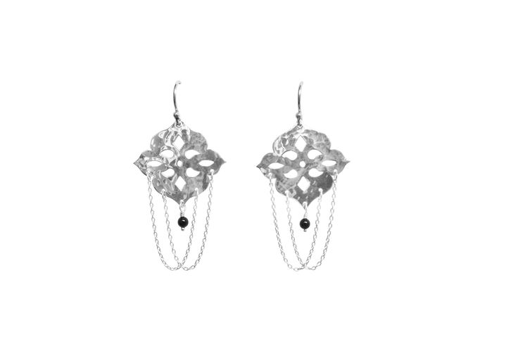 Thai Princess Earrings in Sterling Silver, onyx stones and fine chains www.murkani.com.au