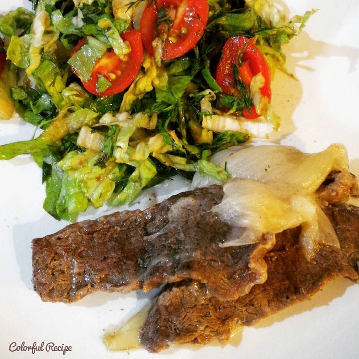 #beef  and #salad easy and delicious #paleodinner #paleo #eatclean #et  ve #salata kolay ve lezzetli #tasdevri akşam yemeği