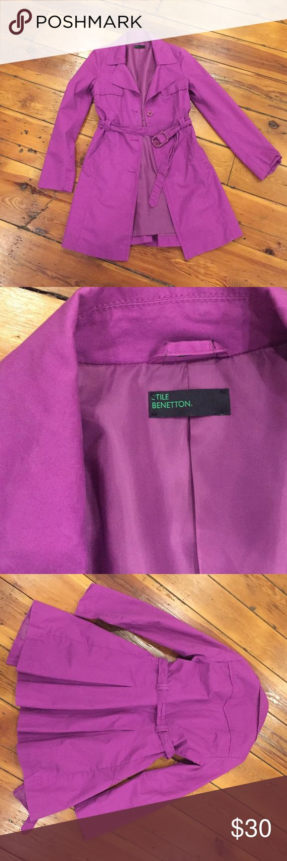 Beautiful mid-length purple trench coat! Gorgeous purple trench coat by Stile Benneton. Size 40. Fits like a S. Fully lined. Outside of coat is 100% cotton. Length is 33 inches. Jackets & Coats Trench Coats