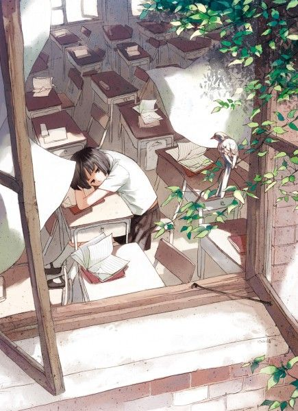 ✮ ANIME ART ✮ school uniform. . .pleated skirt. . .knee socks. . .classroom. . .desks. . .short hair. . .lonely. . .open window. . .papers. . .tree. . .in the breeze. . .kawaii