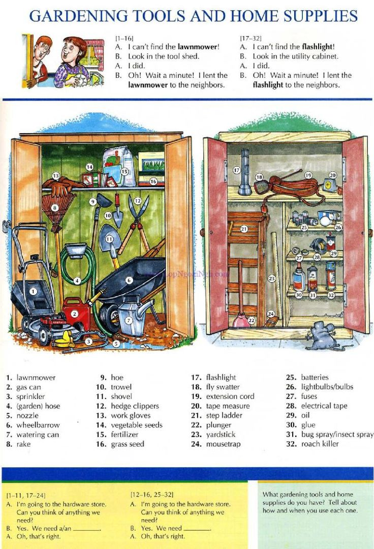 25 - GARDENING TOOLS AND HOME SUPPLIES - Pictures dictionary - English Study, explanations, free exercises, speaking, listening, grammar lessons, reading, writing, vocabulary, dictionary and teaching materials