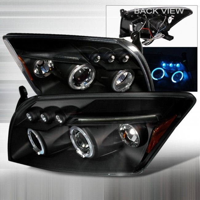 06-12 Dodge Caliber Dual Halo Projector Headlights /w LED YD - Black  (pair)