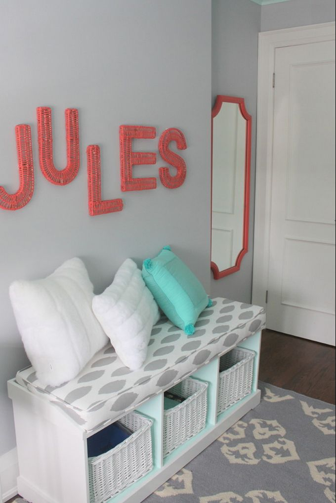 "House of Turquoise: Sarah Gunn Style Sources back of cubbies and bookshelves - Benjamin Moore ""Light Touch""  Wall Color - Benjamin Moore ""Whitestone""   Rug - West Elm  Letters - PB Teen  Bench cushion - Tonic Living"