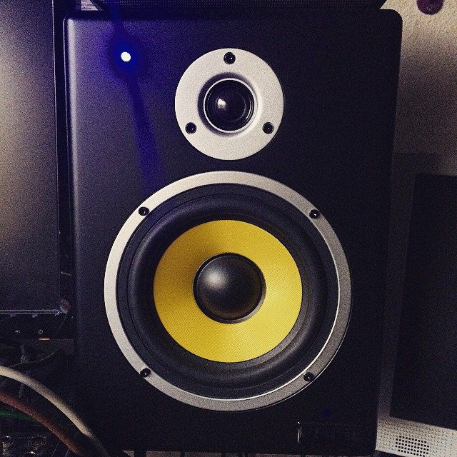 speakers yellow. working with some new audio monitoring, the fame pro series. have a look at yellow kevlar bass speaker #axelritt #fameguitars #audio | monitor speakers, speakers i