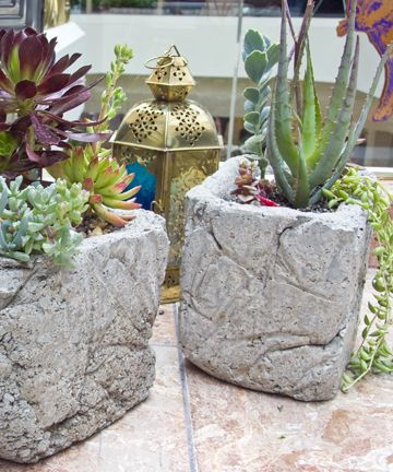 diy cement planters- wrinkly