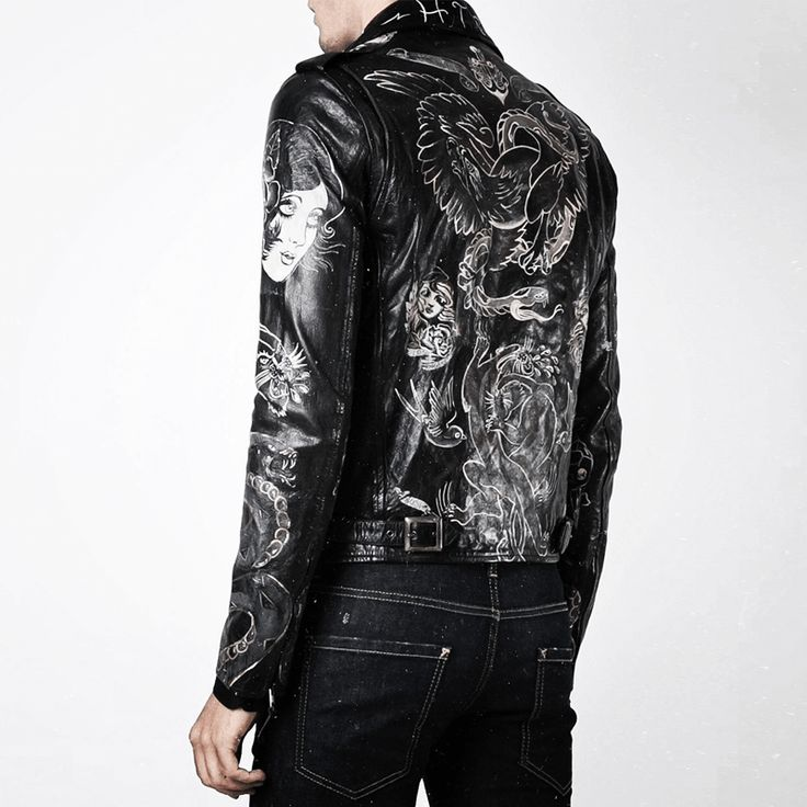 // Today meet the handpainted Clark Tattoo jacket // #weareartisans #htclosangeles #hollywoodtradingcompany #handpainted #jacket #farfetch