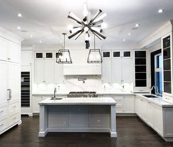 Star Chandelier With Large Pendants Over Island Ideas For