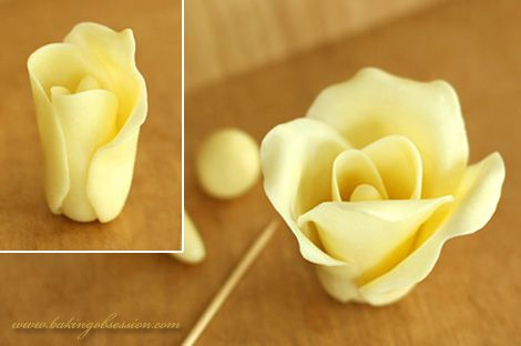 Chocolate Plastic Roses recipe from Baking Obsession