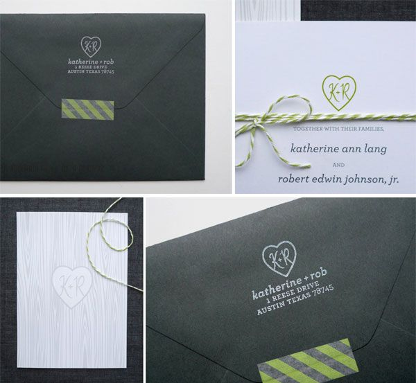 charcoal gray and bright green wedding invitations, designed by Fine Day Press, Wood grain pattern in the back, bright green and white twine accent and striped washi tape envelope closure :)