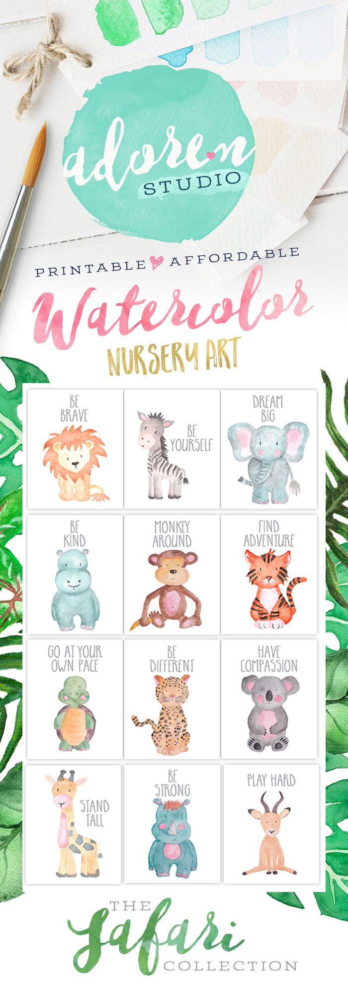 The Safari Collection by Adoren Studio!  Adorable baby animal nursery art!  Create your own set of adorable animals with encouraging words or buy them all - choose from a lion, zebra, elephant, hippo, monkey, tiger, turtle, leopard, koala, giraffe, rhino and antelope!  #NurseryPrintables