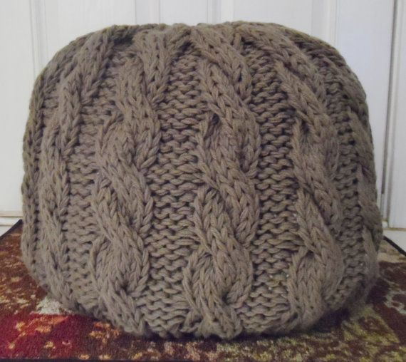 Cable Knit Pouf Ottoman  PreStuffed Made to Order by StitchIsBack, $94.00