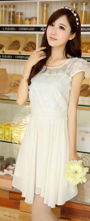 Midi Chiffon Dress Embroidered Flower Top YRB0044