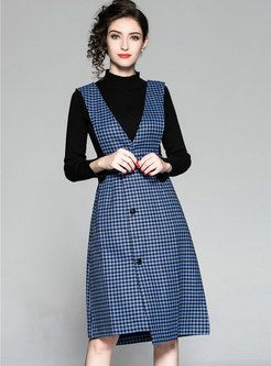 fe79737c7aa Brief Black Knitted Sweater   Gathered Waist Houndstooth Dress Houndstooth  Dress
