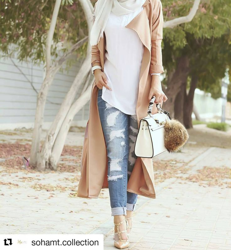 My style though I won't be wearing torn jeans anytime soon.  Bag is cute too! #fashion #hijabstyle #hijabers @sohamt.collection