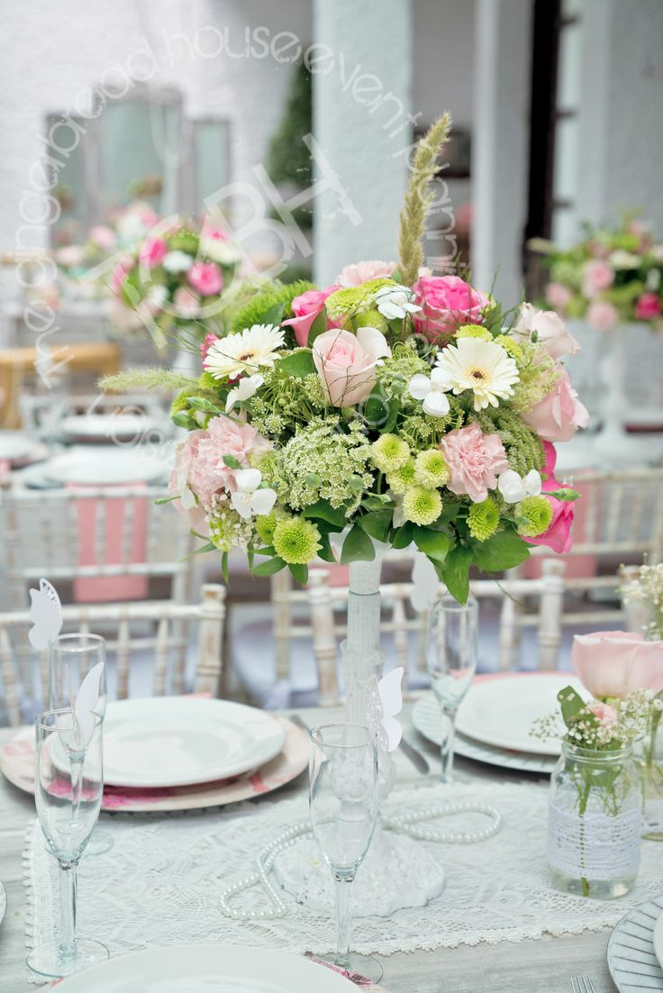 Shabby chic birthday party tablescape flower