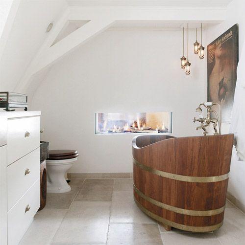 soaking tubDecor Ideas, Modern Bathroom Design, Design Trends, Wine Barrels, Vintage Bathroom, Bubbles Bath, Bathroom Decor, Mountain House, Design Bathroom