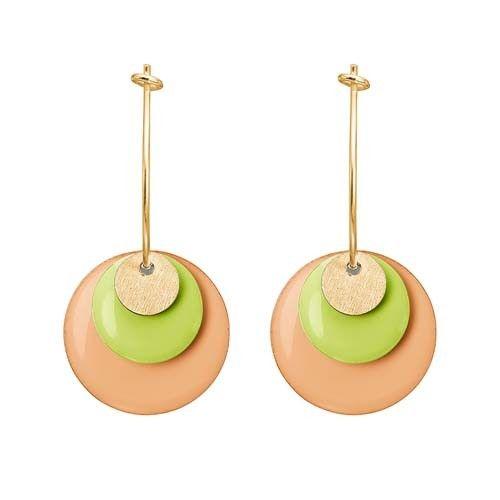 ENAMEL Copenhagen drops earring coin, gold, neon yellow, peach