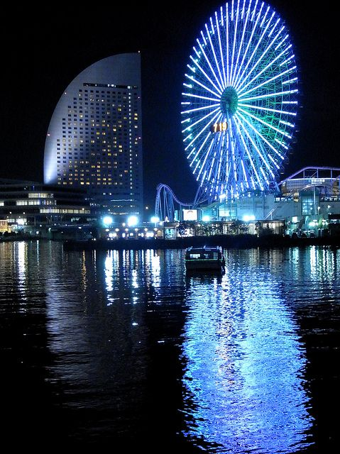 Yokohama's dazzling ferris wheel lights at night