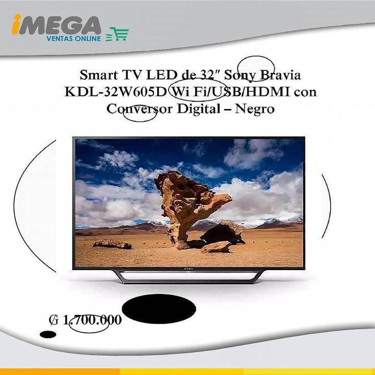 Smart TV LED de 32 Sony Bravia KDL-32W605D Wi Fi/USB/HDMI con Conversor Digital  negra La pantalla Sony KDL-32W605D de 32es una adición imprescindible para tu hogar u oficina. Sumérgete en un mundo de cine TV y aplicaciones deléitate con la mayor calidad de imagen y sonido que solo te puede ofrecer Sony. 1.700.000 #TV #LED #Sony #Sonytv #32 #SonyBravia #Apps #Programas #Series #Peliculas #Pantalla #Tecnologia #Innovación #Diseño #Hogar #Oficina #Cine #Articulo #Imegapy Somos Imega.com.py no…