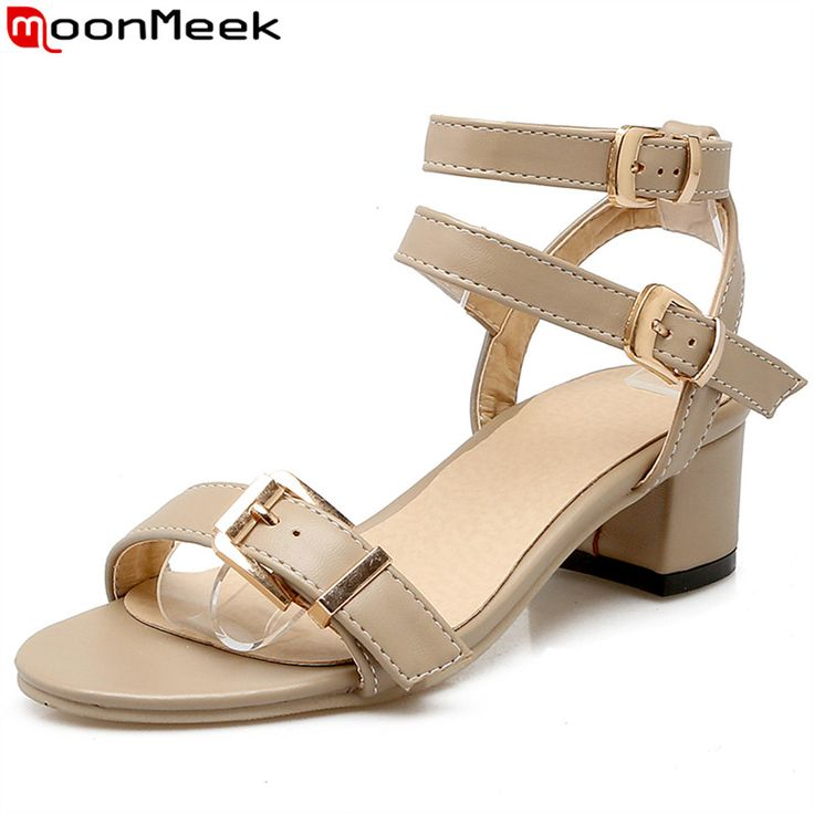 COOLCEPT Zapatos Mujer Verano Single Band Chunky Heel Sandalias With Al Tobillo (34 EU , Black)