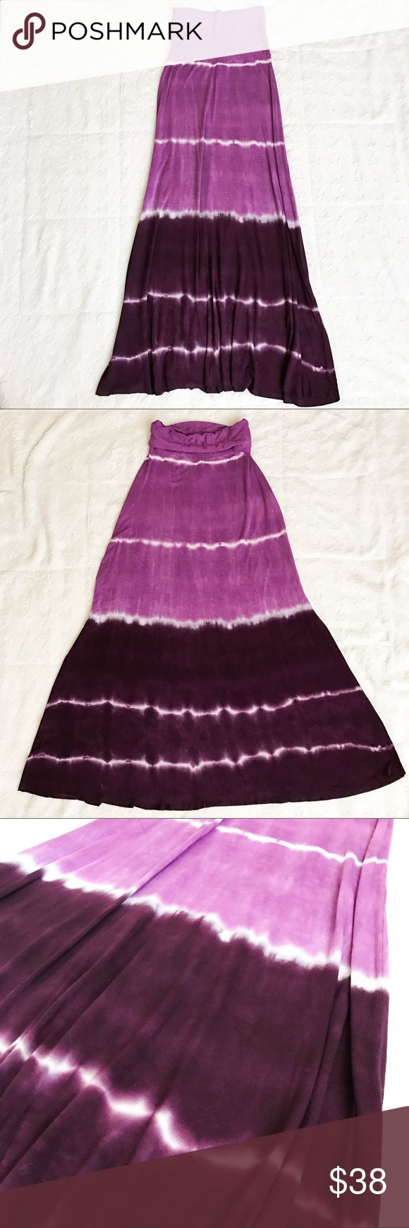 Gorgeous Lucky Brand Purple Maxi Skirt Size XS Beautiful Purple tie dye Lucky Brand Maxi Skirt! I only wore this once, so it is in Excellent condition! The top can be worn as a high-waist, or can be rolled over for a lower rise. You could probably even wear this as a dress and pull it all the way up. Fabric is super soft and comfy. Open to reasonable offers, thanks for looking! Lucky Brand Skirts Maxi