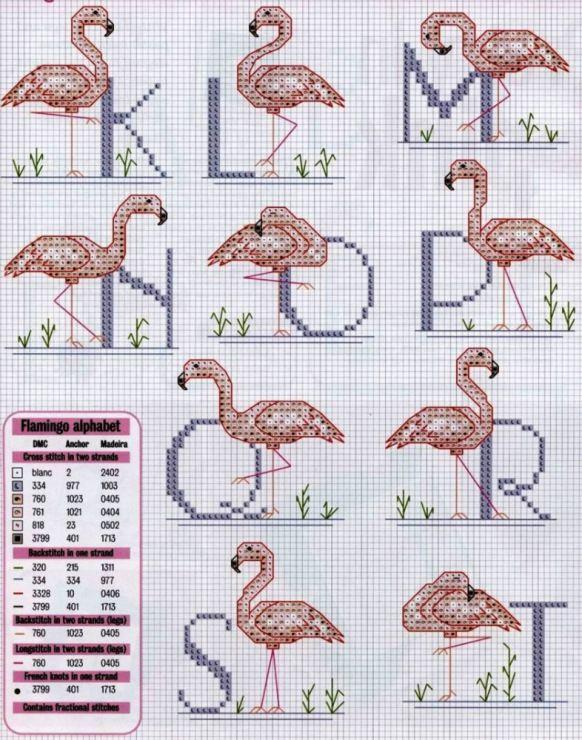Flamingo alphabet - cross stitch