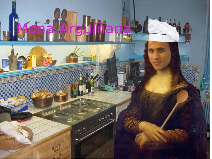 Retoque fotográfico en la que he puesto mi cara en el cuadro de la Mona Lisa. También he cambiado el fondo, he puesto un gorro y un cucharón. Para ello he utilizado el programa Gimp.