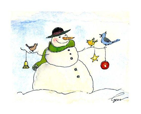Snowman Christmas Greeting Card- Snowman Art- Winter Snowman Watercolor Painting Illustration Cartoon Greeting Card Print