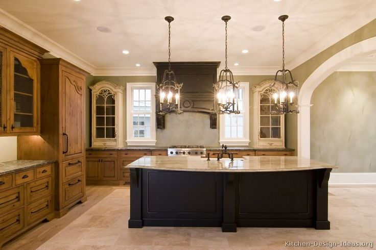 Tuscan Kitchen Design #24 (Kitchen-Design-Ideas.org) - really mixing it w/ 3 cabinet colors and different counterops