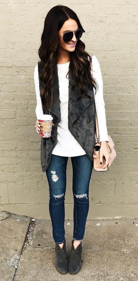 #winter #outfits /  Ripped Skinny Jeans // Velvet Vest // White Knit //  Velvet Booties